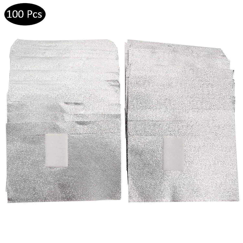 ステッチ楽観的報奨金SILUN ネイルリムーバー錫箔ネイルポリッシュットン付きアルミホイル ジェル除却 使い捨て 爪マニキュア用品100枚入り使い捨て コットン付きアルミホイル ネイル用品 マニキュア用品