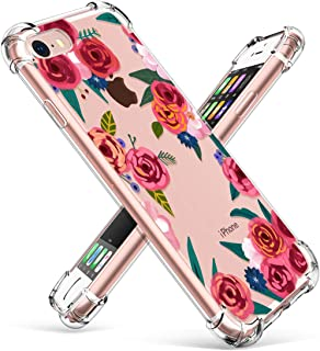 GVIEWIN Clear Flower Designed for iPhone 8 Case/iPhone 7 Case, Soft TPU Silicone Ultra-Thin Slim Fit Transparent Flowers Flexible Cover Perfect Grip for iPhone 7, iPhone 8 (Rose Blossom/Red)