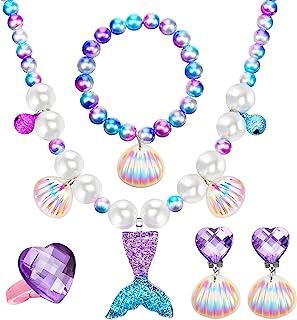 مجموعه دستبند گردنبند پری دریایی کیت جواهرات پری دریایی ، شامل گردنبند پوسته گردنبند حلقه گوشواره کیف های Organza برای لوازم جشن عروس دریایی
