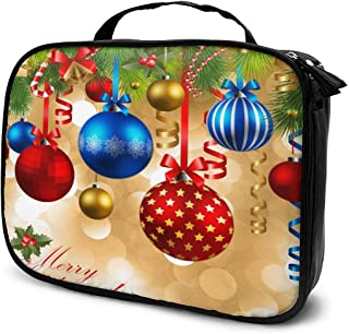 Cosmetic Bag New Year Christmas Balls Pine Trees Travel Makeup Bag Anti-wrinkle Cosmetic Case Multi-functional Storage Bag Large Capacity Makeup Brush Bags Travel Kit Organizer Women's Travel Bags