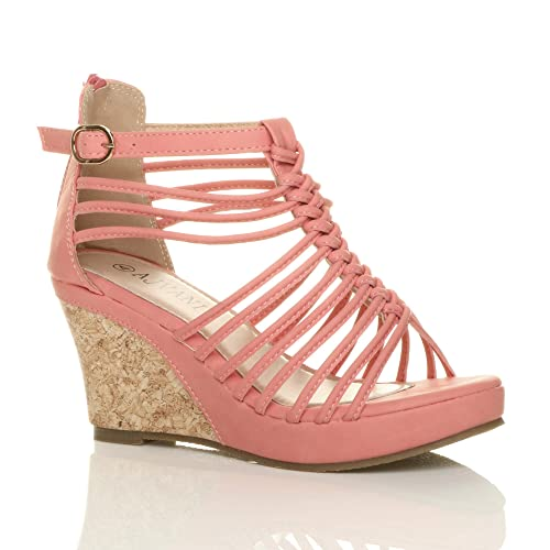 5ab515800f5 Womens ladies strappy gladiator platform peep toe high heel wedge sandals  size