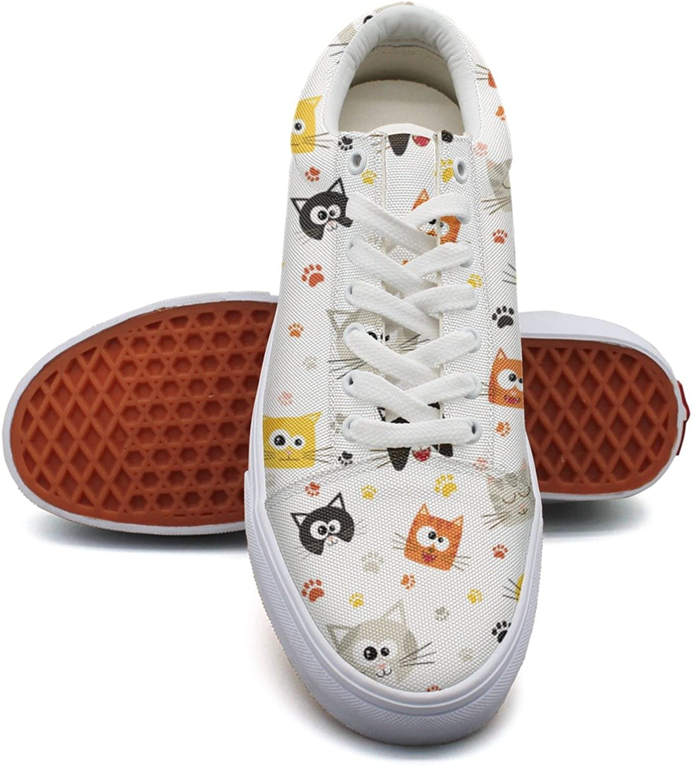 Cute Cartoon Cat Faces and Footprint Womens Denim Canvas Low Top Hip Hop Sneakers shoes for Women's