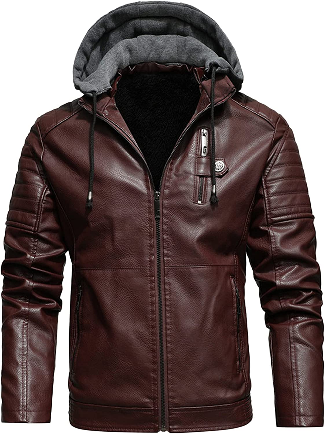 Men's Stand Collar Leather Jacket Coat Outwear Motorcycle Lightweight Faux Leather Outwear