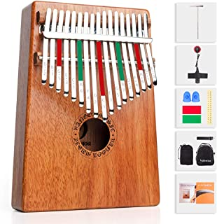 Kalimba 17 Key Thumb Piano Mahogany with Study Instruction, Finger Cover, Tuning Hammer, Pickup, Key Stickers, Carrying bag for Beginners Kids Professional, by Vangoa