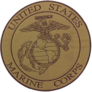 U.S Marine Corps Brown on Gold Center Patch Iron on for Biker Vest and Jacket CP-198