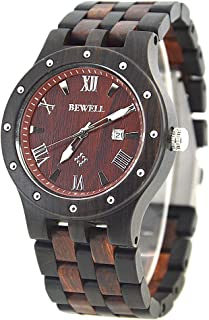 Bewell 109A Mens Black and Red Luminous Wooden Dress Watch with Date, Quartz Analog Big Dial Wristwatch
