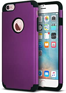 ULAK iPhone 6 Plus Case, iPhone 6S Plus Case,Thin Dual Layer Soft Silicone Skin Hard Back Cover Anti Scratches Bumper Protective Case for Apple iPhone 6 Plus/6S Plus 5.5 inch, Deep Purple