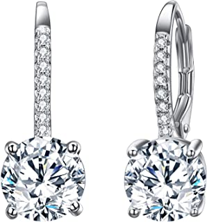 925 Sterling Silver Round Cut CZ Prong Setting Gorgeous Bridal Prom Leverback Dangle Earrings