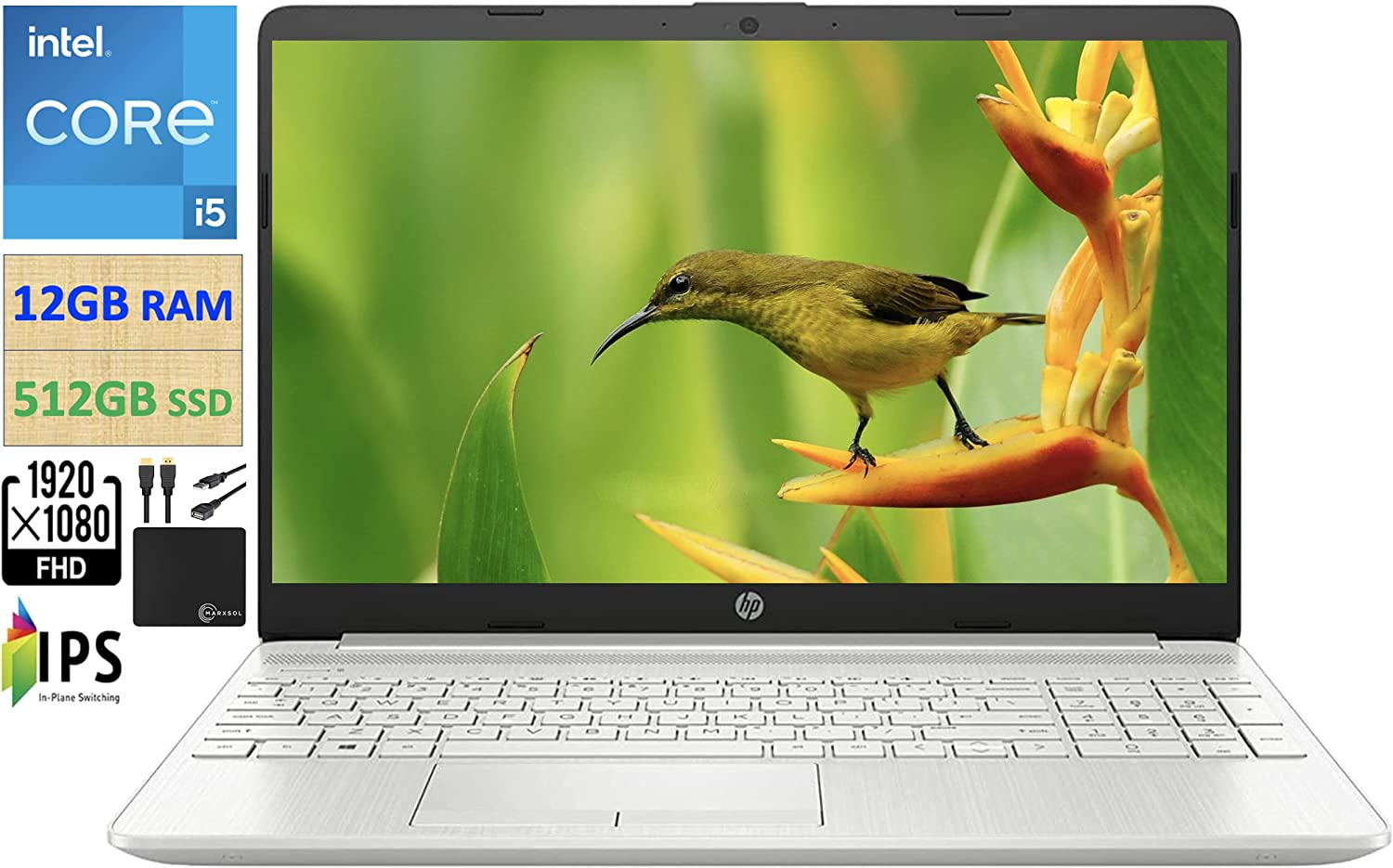 """2021 Flagship HP 15.6"""" FHD IPS Laptop Computer, Intel i5-1135G7 Quad-Core (Up to 4.2GHz, Beats Intel i7-1065G7), 12GB RAM, 512GB PCIe SSD, HD Webcam, WiFi 5, Bluetooth 4.2, Win10, w/Marxsol Cables"""