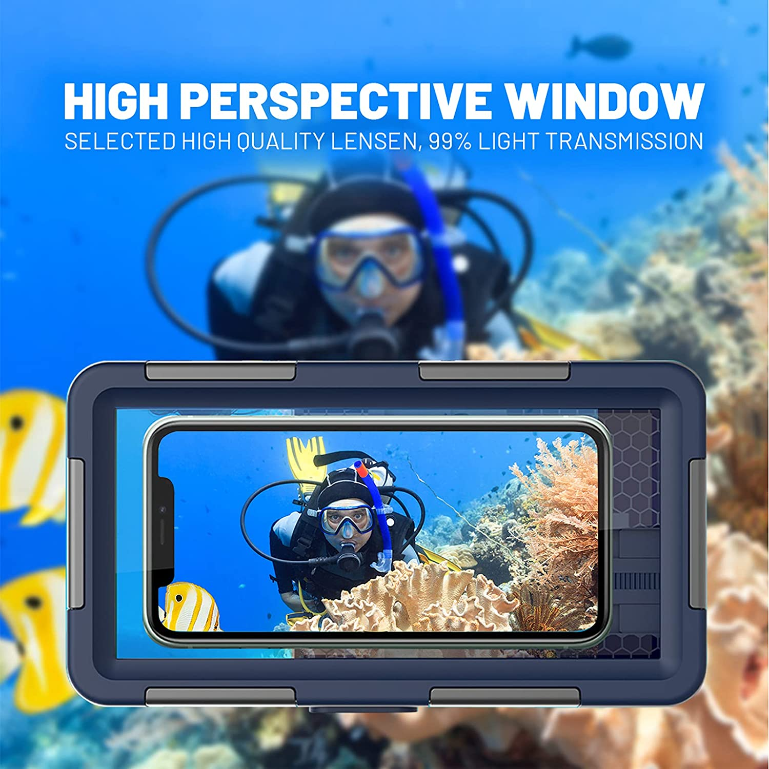 Waterproof Phone Case – Professional 50ft Waterproof Protective Case for iPhone, Samsung, LG Series – Universal Waterproof Cell Phone Case for Underwater Diving and Snorkeling with Lanyard