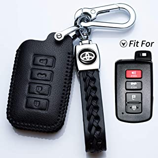 Hey Kaulor for Toyota 4buttons Soft Leather Key Fob Cover Remote Case Keyless Protector Jacket for 2016 2015 2014 Toyota Avalon Camry Corolla RAV4 Highlander