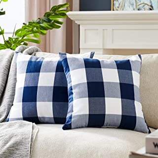 Foindtower Pack of 2 Decorative Cotton Buffalo Throw Pillow Covers Classic Check Plaid Gingham Cushion Cover Rustic Farmhouse Modern Retro Decor for Sofa Bedroom Chair 18 x 18 Inch Navy White