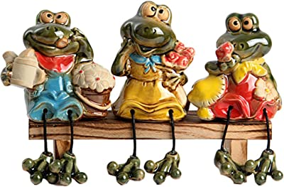 QPURP Ceramic Frog Figurines Shelf Sitters Siting On Bench for Home Decor