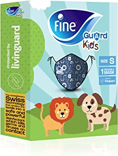 Fine Guard Kids Face Mask, Reusable face mask with Livinguard Technology, – Blue Limited Edition, Size Small