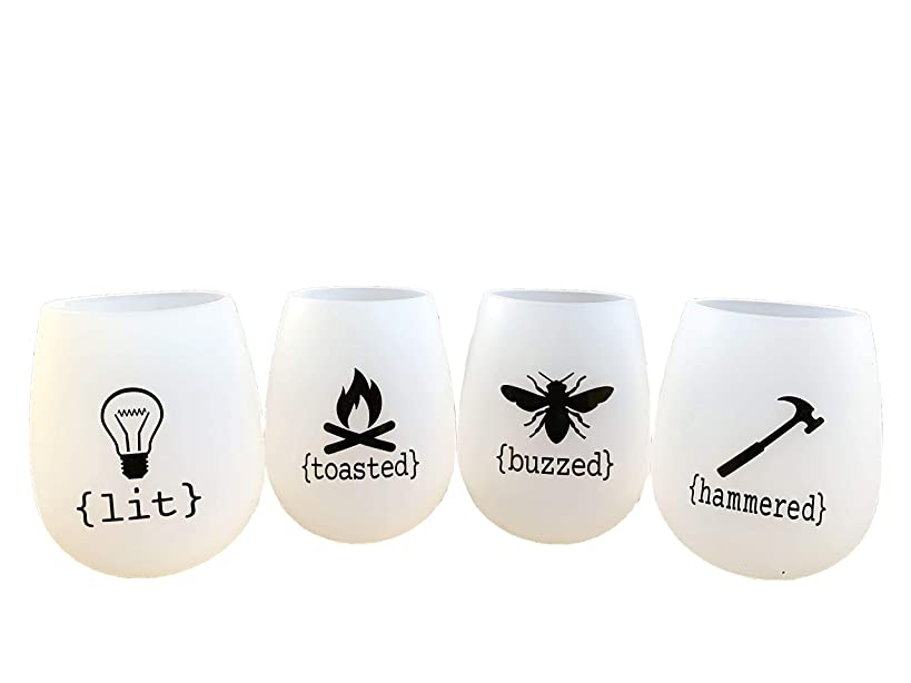 Unbreakable Silicone Wine Glasses- Set of 4 with Funny Sayings- Silly Wine Glasses Spring Break Camping Travel Pool Beach Weekend Trip BPA Free Shatterproof Rubber Collapsible Outdoor Wine Cups