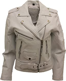 Women's Stylish Brando White Leather Biker Jacket