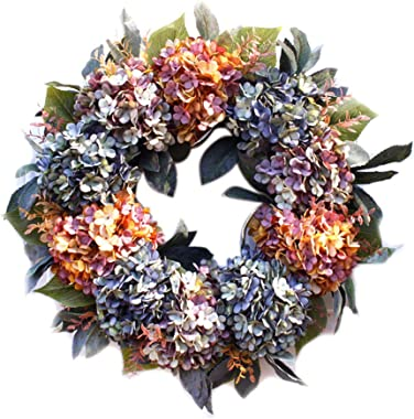 WDDH Hydrangea Wreath, 22inch Large Multicolor Hydrangea Series Wreath with Green Leaves, Front Door Wreath Spring Welcome Wr