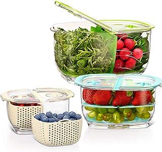 Luxear Lot de 3 Boîtes Fraicheur Organisateur de Frigo sans BPA avec Grille d'Aération, Boîte de Conservation Alimentaire ...