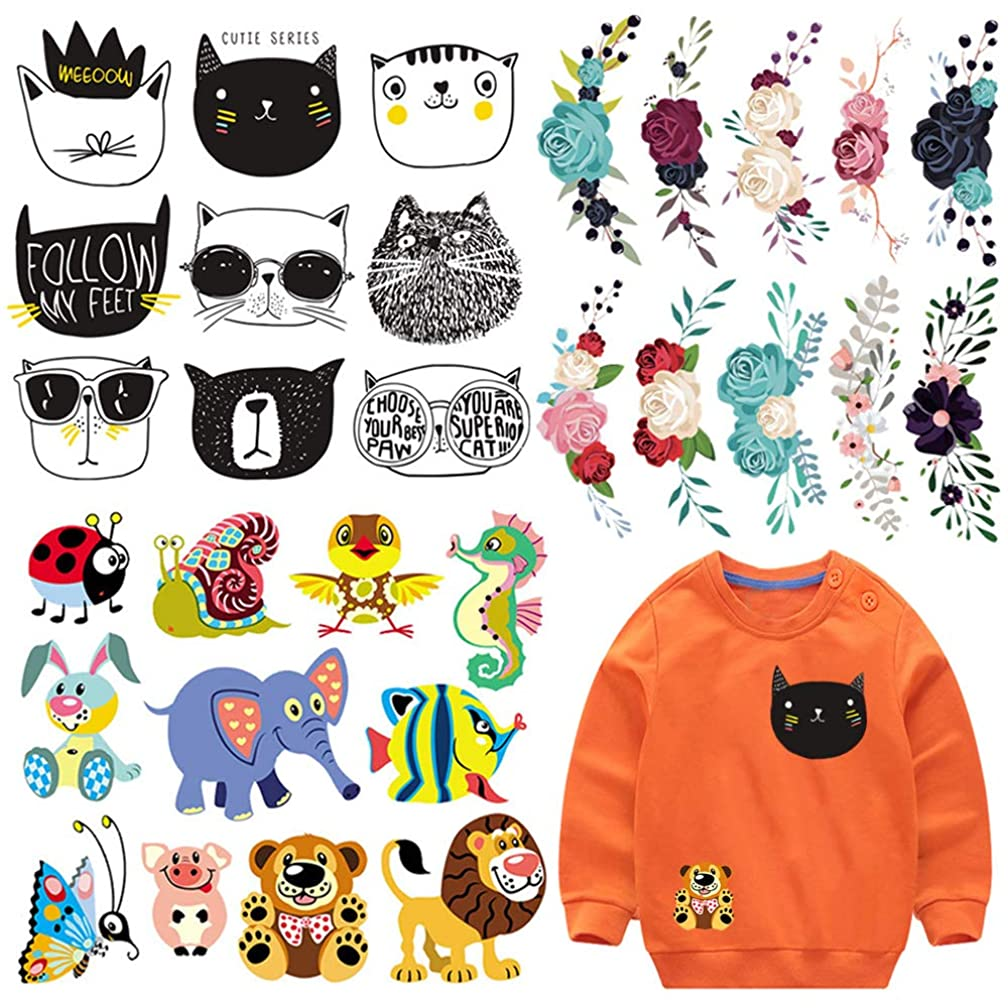 Applique Patches for Kids Clothes 3 Set Cute Animal Cat Rose Flower Iron on Patches DIY Badges Washable Heat Transfer Stickers for T-Shirts Jacket Clothing Jeans