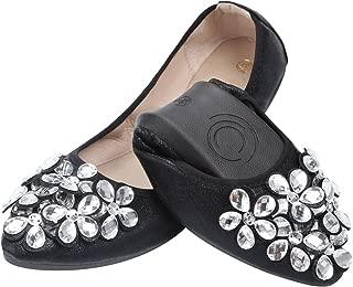 Women Ballet Flats Rhinestone Wedding Ballerina Shoes Foldable Sparkly Comfort Slip on Flat Shoes