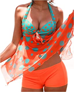 Sexy Womens Printed Flowy Swimsuit Sets Backless V Neck Bathing Suit