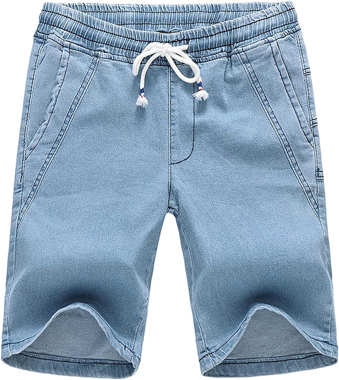Men's Elastic Waist Denim Shorts Casual Slim Fit Drawstring Short Jean Pants Summer Stretch Distressed Knee Lenght Jeans