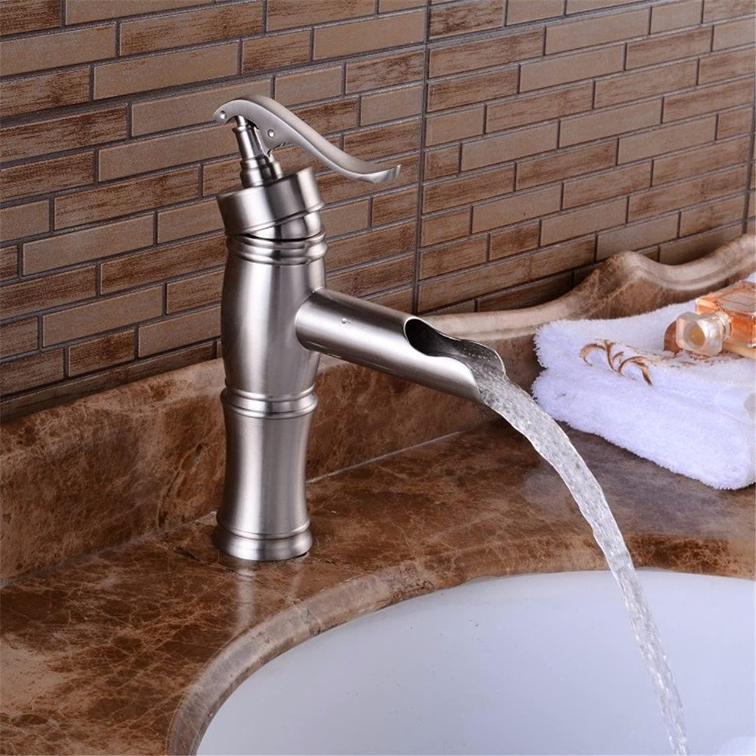 Bijjaladeva Antique Bathroom Sink Vessel Faucet Basin Mixer Tap The creative faucet open wells to tap the full copper brushed hot and cold basin mixer
