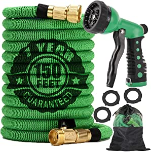 Expandable Garden Hose 150 FT Flexible Water Hose with 8 Function Nozzle, Collapsible Durable 3-Layers Latex Leakproof, No Kink Extra Strength 3750D Lightweight Yard Hose with 3/4in Brass Fittings