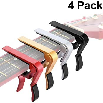 4 Pieces Guitar Capo Aluminum Metal Universal, Acoustic and Classical Electric Guitars, Bass, Banjo, Violin, Mandolin, Ukulele All Types Lightweight String Instrument (Black, Red, Silver, Gold)