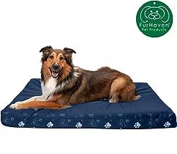FurHaven Deluxe Memory Foam Indoor/Outdoor Garden Pet Bed for Dogs and Cats, Lapis Blue, Jumbo