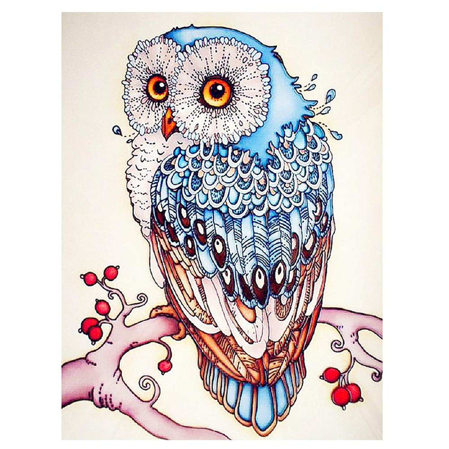 HuaCan 5D DIY Diamond Painting Animal Full Square Drill Owl Rhinestone Embroidery Cross Stitch Mosaic Arts Craft Paint by Number Kits Wall Decoration for Adults Kids 30x40cm/11.8x15.7in