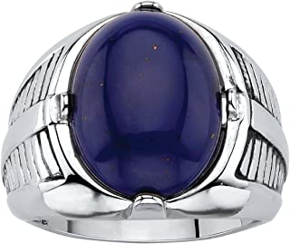 Men's Platinum Plated Oval Shaped Genuine Blue Lapis Cabochon Ring