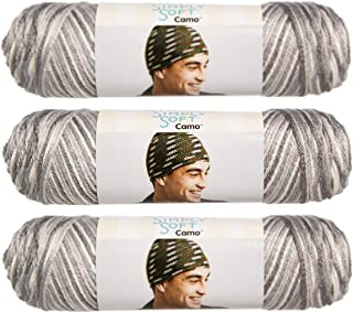 Caron (3 Pack Simply Soft Camo 100% Acrylic Soft Snow Camo White Silver Gray Blend Yarn for Knitting Crocheting Medium #4