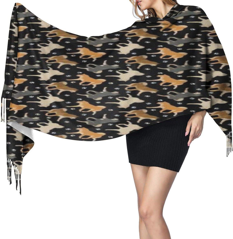 Cashmere fringed scarf Trotting Shiba Inu paw prints winter extra large scarf