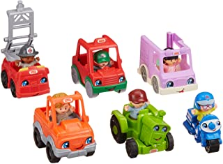 Fisher-Price Little People Friendly Neighborhood Vehicle Gift Set, Toddlers Explore Different Roles People Play in Their Neighborhood with This Set Featuring 6 Roll-Along Vehicles and Figures