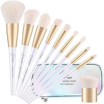 BESTOPE Makeup Brushes with Shiny Case 10 Pcs Mermaid White Premium Synthetic Cosmetics Contour Brushes Set Kabuki Foundation Face Powder Nasal Eyeshadow Angled Detail Brushes Kit (Holographic Logo)
