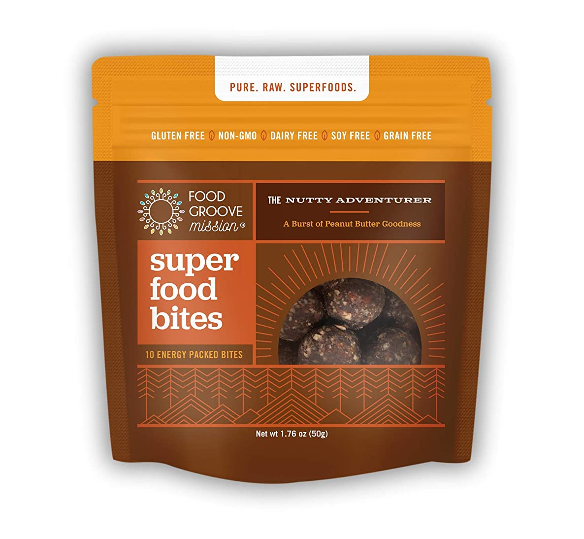 The Nutty Adventurer Peanut Butter Superfood Bites (Box of 10 pouches) - Non-GMO, Gluten Free, Dairy Free, Soy Free, Grain Free
