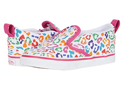 Vans Kids Slip-On V (Infant/Toddler) ((Rainbow Leopard) Fuchsia Purple/True White) Girls Shoes