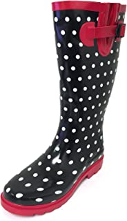 G4U Women's Rain Boots Multiple Styles Color Mid Calf Wellies Buckle Fashion Rubber Knee High Snow Shoes