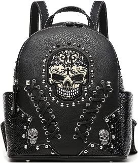 Sugar Skull Punk Art Rivet Studded Biker Purse Women Fashion Backpack Bookbag Python Daypack Shoulder Bag