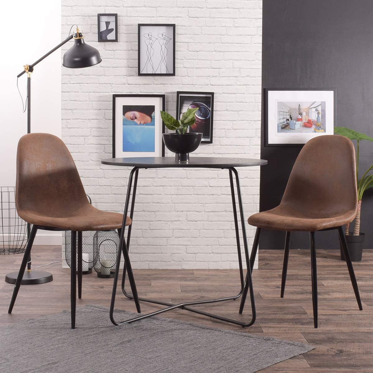 FURNISH1 Set of 4 Vintage Brown Antique Leather Dining Chairs Office chair PU Rustic Cushion Seat Chair with Black Metal Legs