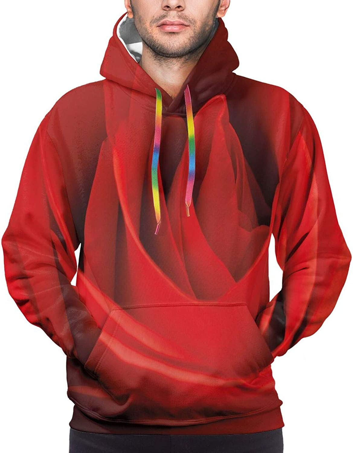 Men's Hoodies Sweatshirts,Close Up of A Red Rose Bloom Fresh Natural Beauty Love Valentines Day Couples Theme