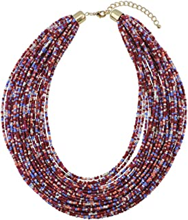 Multi Layer Chunky Bib Statement Seed Beads Cluster Collar Necklace for Women Gift