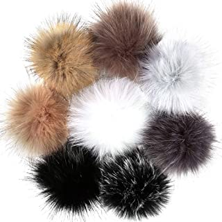 Auihiay 8 Pieces 8 Colors Faux Fur Hair Ball Fluffy Pompoms Ball with Rubber Band for Detachable Knit Hats Clothing Accessories (10 cm)