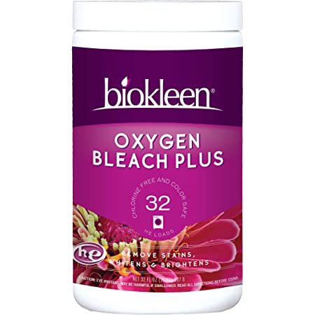 Biokleen Laundry Oxygen Bleach Plus 32 HE Loads - Concentrated Stain Remover, Whitens & Brightens, Eco-Friendly, Plant-Based, No Artificial Fragrance or Preservatives, 2 Pounds, 32 Fl Oz