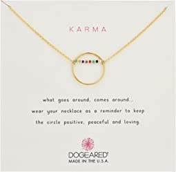 Dogeared - Karma Smooth Open Circle w/ Multicolored Seed Bead Bar Necklace