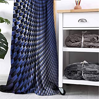 GAJIOE DIY Printing Blanket and Throw Blanket Dark Blue Couch Bed Napping Reading Recliner Industrial Modern Grid W40 xL60