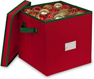 Primode Holiday Ornament Storage Box, 4 Layers, Fits 64 Ornaments Balls, Constructed of Durable 600D Oxford Material Red