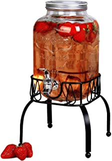 Estilo On Metal Stand with Leak free Spigot 1 Gallon Single Beverage Drink Dispenser, Clear