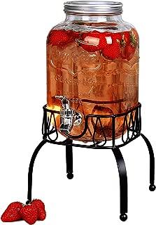 Estilo EST3088 On Metal Stand with Leak free Spigot 1 Gallon Single Beverage Drink Dispenser, Clear